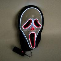 2017 Hot Vendas de Som Ativado Máscara de Halloween fantasma enfrenta fio EL Brilhante Flexível LEVOU Neon iluminação do feriado Máscara Para O Partido