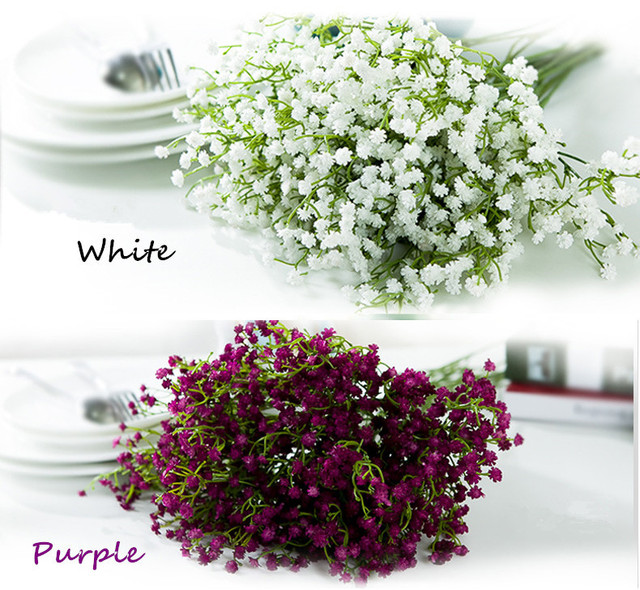 mlticolor pu babys breath plastic gypsophila plastic flowers white purple orange blue gypsophila wedding decorations rose