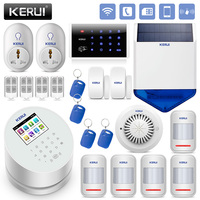 KERUI WiFi GSM PSTN Home Burglar Alarm System RFID Card Security Alarm Android IOS App Control with Solar Siren Smoke detector