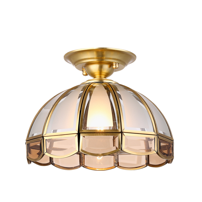 Modern Retro Glass Lampshade Ceiling Lamp European Vintage Copper Flush Mount Lights Living Room Dining Room Light Fixture copper retro vintage led ceiling lights