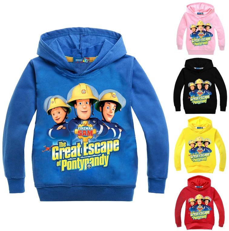 Wholesales 3-16Years Fireman Sam Cartoon Boys Hoodies and Sweatshirts Spring Jacket Girls Kids Clothes Long Sleeves Coat N07617