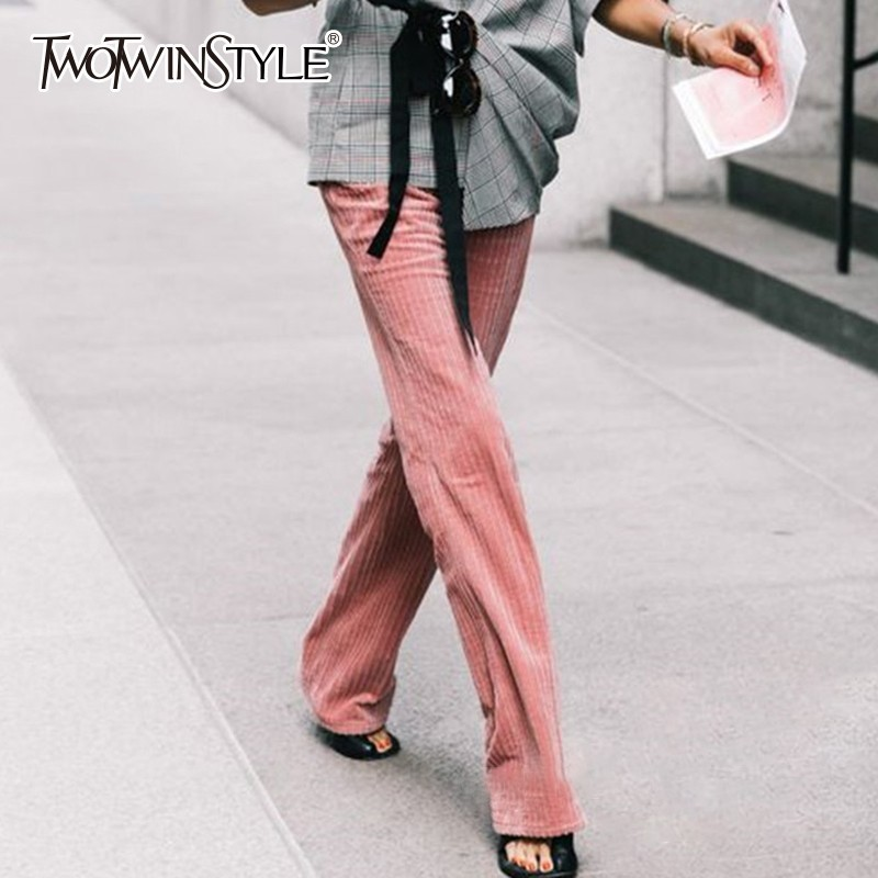 Casual Ancho pinstripe Twotwinstyle Pana Pantalones Moda Primavera Otoño 2018 Cremallera Pierna Thickstripe De Para Cintura La Alta Grandes Mujeres Tallas RCpCqdT