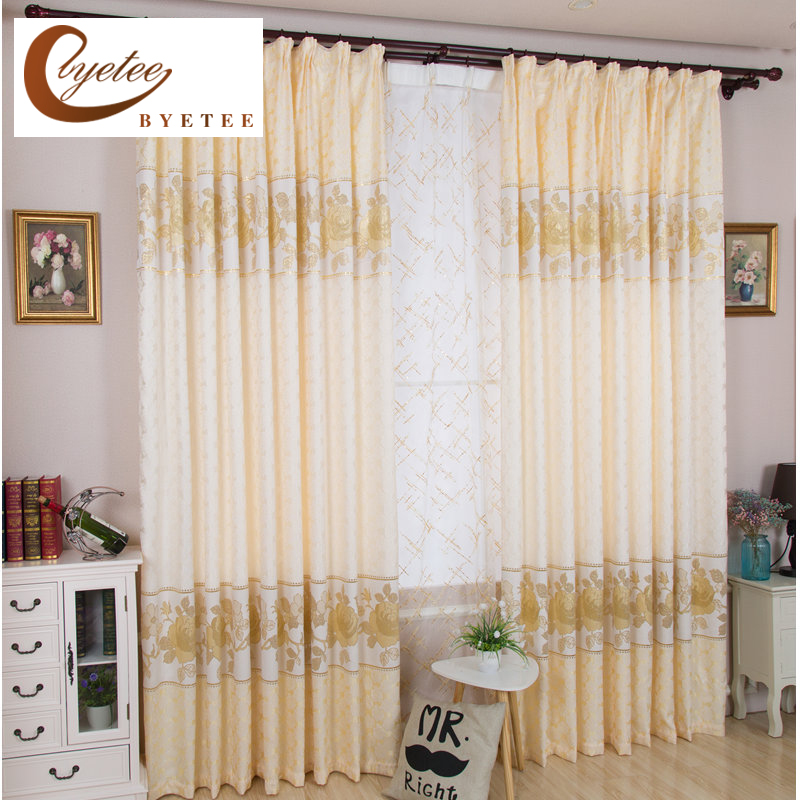 {Byetee} Living Room Bedroom Luxury Curtains Gold Jacquard Curtain Fabric  Products Window Curtain Room