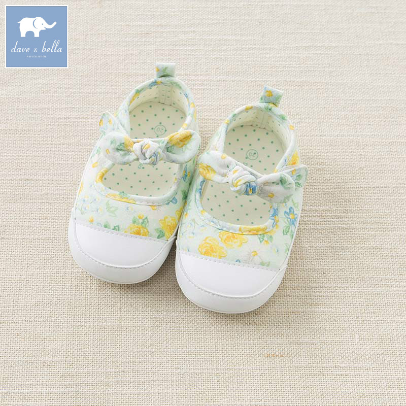 DB6735 Dave Bella baby girls soft first walkers baby cute bow shoes