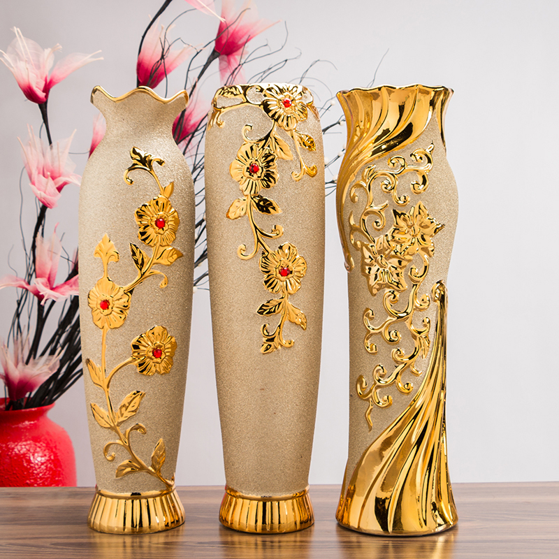 Baroque Big Floor Vase Gilded Flower Holder Porcelain Resin Ceramic Flower Vase Decorative Vases Golden Decoration Plated Vase Vases Aliexpress