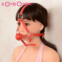 Red Harness Saddlery Fork Flail Mouth Ball Stuffed Oral Mouth Gap with PU Leather Bandage Masks Strap Sex Products Adult GamesO3