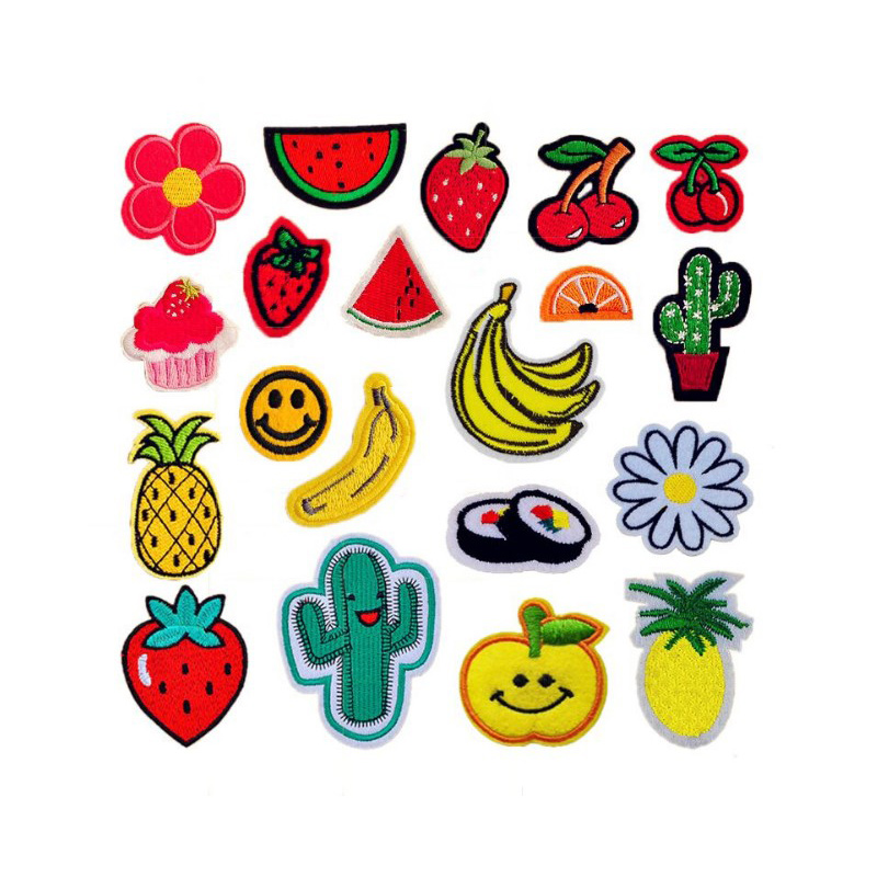 Cool Fruit Cherry Banana Pineapple Watermelon Patches Iron On Or Sew Fabric Sticker For Clothes Badge Embroidered Appliques DIY