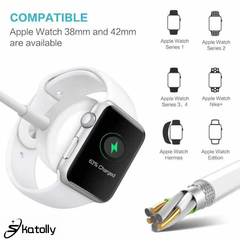 Portable 2 In 1 Wireless Charger for Apple Watch Series 1 2 3 4 USB Magnetic Charging Cable 1.2 Meter for IPhone 7 8 X Xs Max(China)