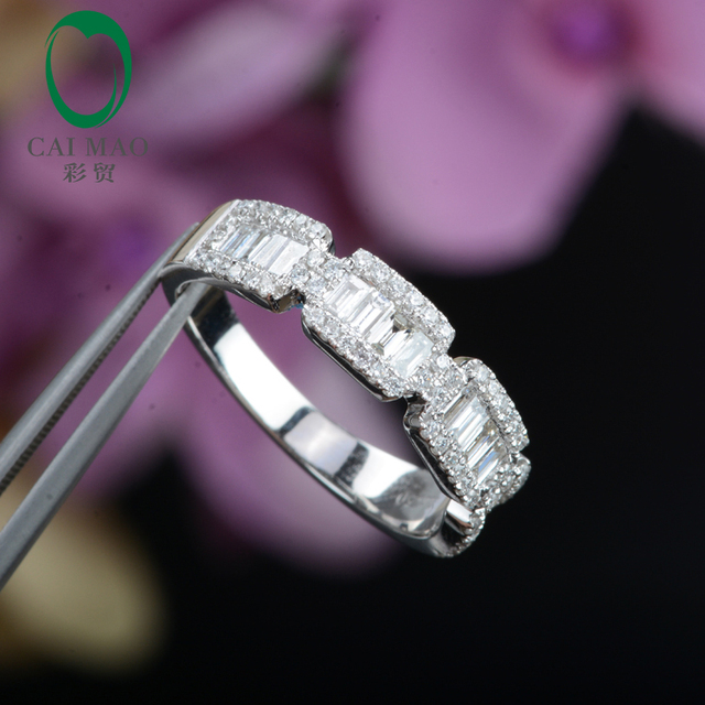 Half Eternity Classic For Unisex 14K White Gold 0.70ct Pave H SI Natural Diamond Engagement Wedding Band Caimao Jewelry