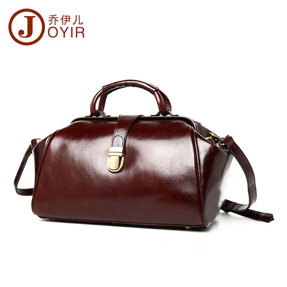 JOYIR 2017 New Oil Wax Vintage Handbags Retro Genuine Leather Doctor Totes Women Bag Fashion Lady Shoulder Messenger Bag  8526