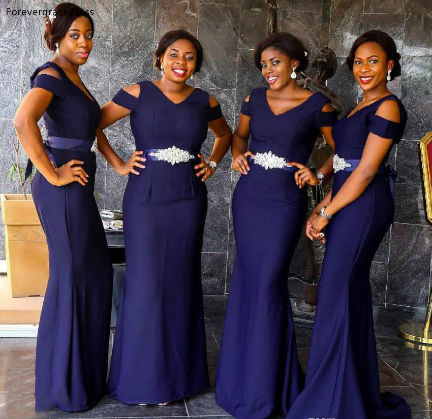 Nigeria Girls South African Girls Deep Purple Bridesmaids Dresses With Beaded Belt Cap Sleeve Floor Length Mermaid Wedding Guest Gowns  95 (2)