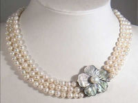 42 44cm long necklace Wedding 10mm South Shell Pearl Necklace Round Beads Wedding silver jewelry