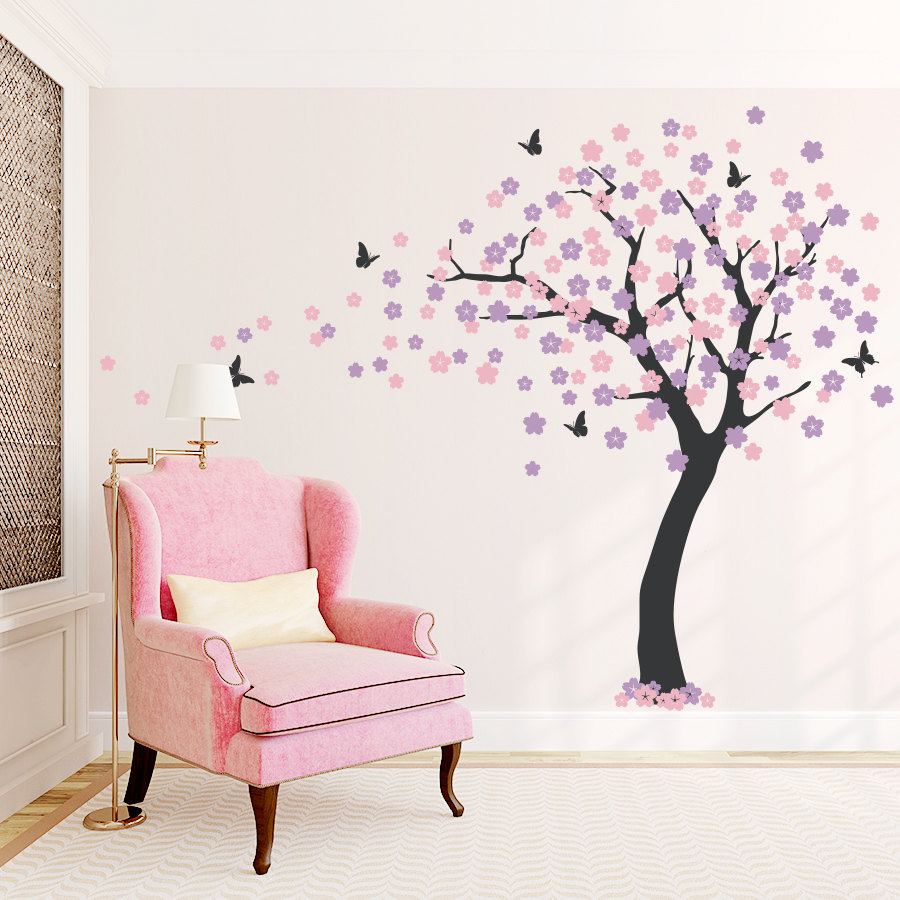 Large Cherry Blossom Tree Wall Sticker Butterfly Wall Decal Vinyl Art Decals Living Room Bedroom Decor