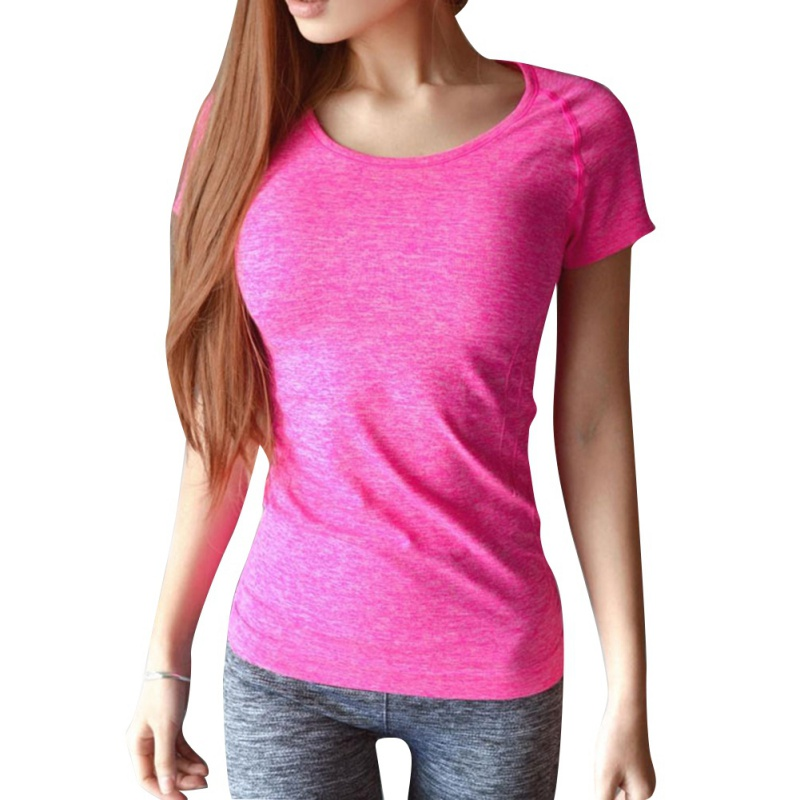 *Women Professional Yoga Shirts Top Fitness Running Gym Sports T Shirt Quick Drying Short Tees Jogging Exercises Tops
