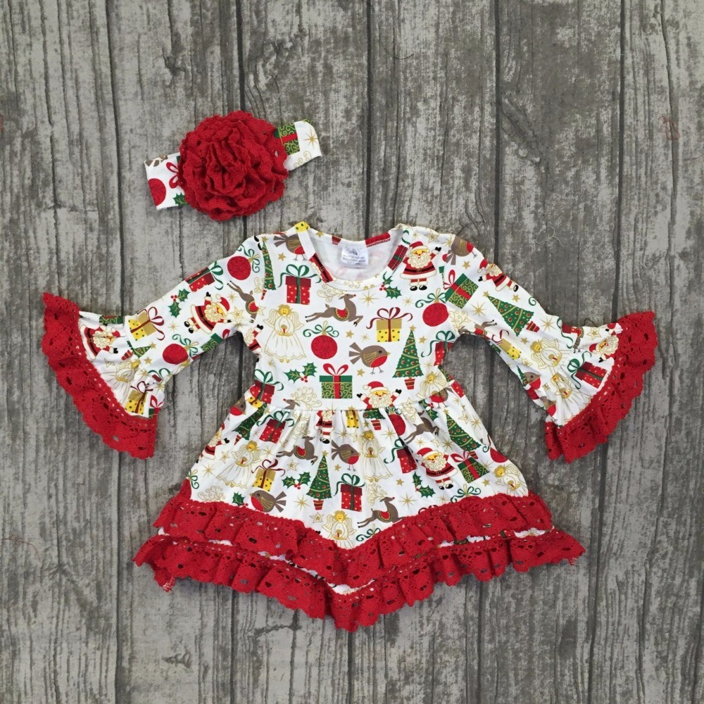 Christmas girls children clothes baby gift print lace cotton Fall/Winter long sleeve ruffle dress boutique match accessories bow
