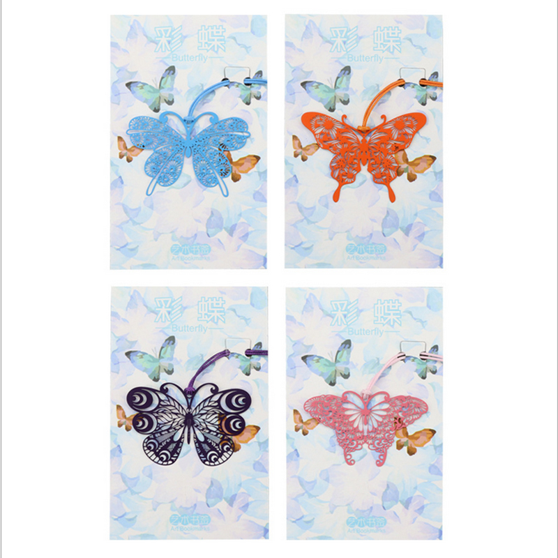 1x Metal Butterfly Bookmark Quality Ribbons Long Tail Student Gift Marker Gift Kawaii Cartoon Bookmarks Office School Stationery