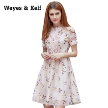 Chiffon Print Wowen Dress  2017 New Summer Petal Short Sleeved A-line Srinting Lady Chiffon Dress Vestidos Party Sundress