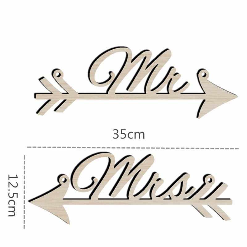 1 Pasang Mr & Mrs Tanda-tanda Panah Kursi Dekorasi Pesta Pernikahan Fotografi Prop Pedesaan Kayu Tanda Pernikahan Dekorasi Nikmat Persediaan
