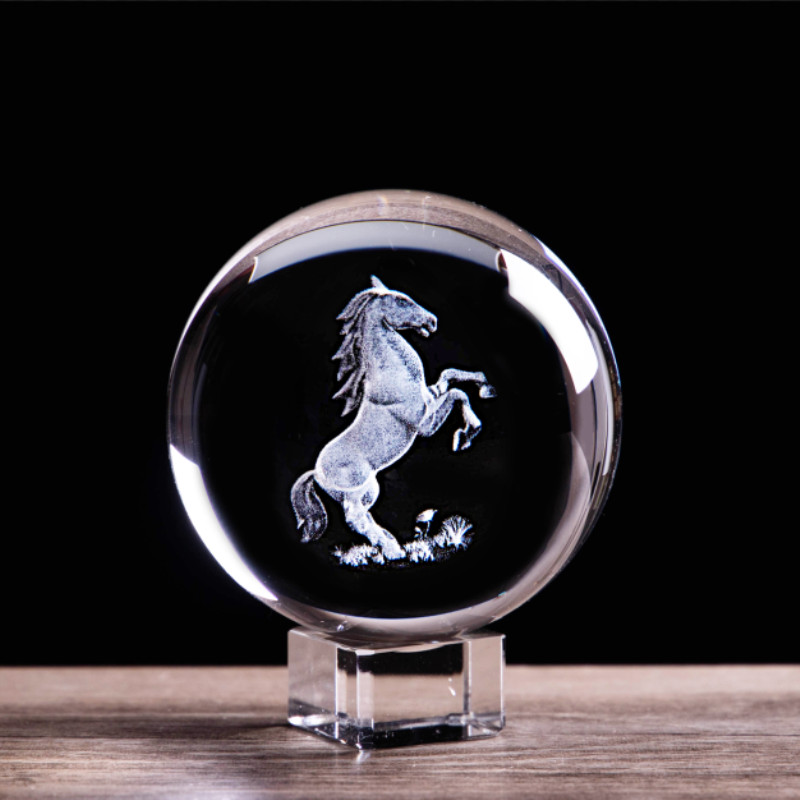 3D Laser Etched Zodiac Horse Crystal Ball Miniature Animal Collectible Figurines Feng Shui Glass Sphere Home
