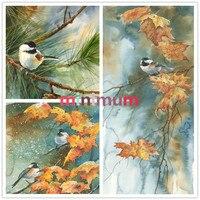 On Sale Cross Stitch 5D Oil Painting Autumn Birds Pine Cone DIY Diamond Painting