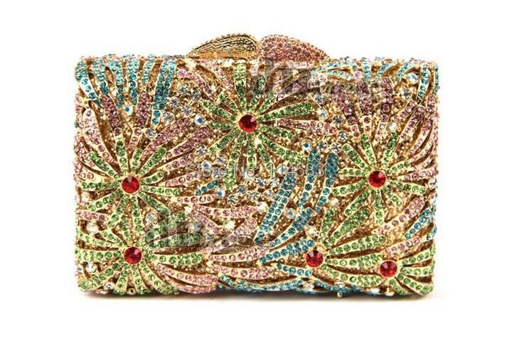 ФОТО 8262B crystal Lady fashion Wedding Bridal hollow Metal Evening purse clutch bag handbag