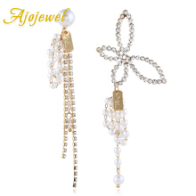 Ajojewel Asymmetric Rhinestone Big Butterfly Long Earrings Tassel Drop Earrings For Women Party Wedding Jewelry Bijoux a suit of graceful rhinestone butterfly earrings for women
