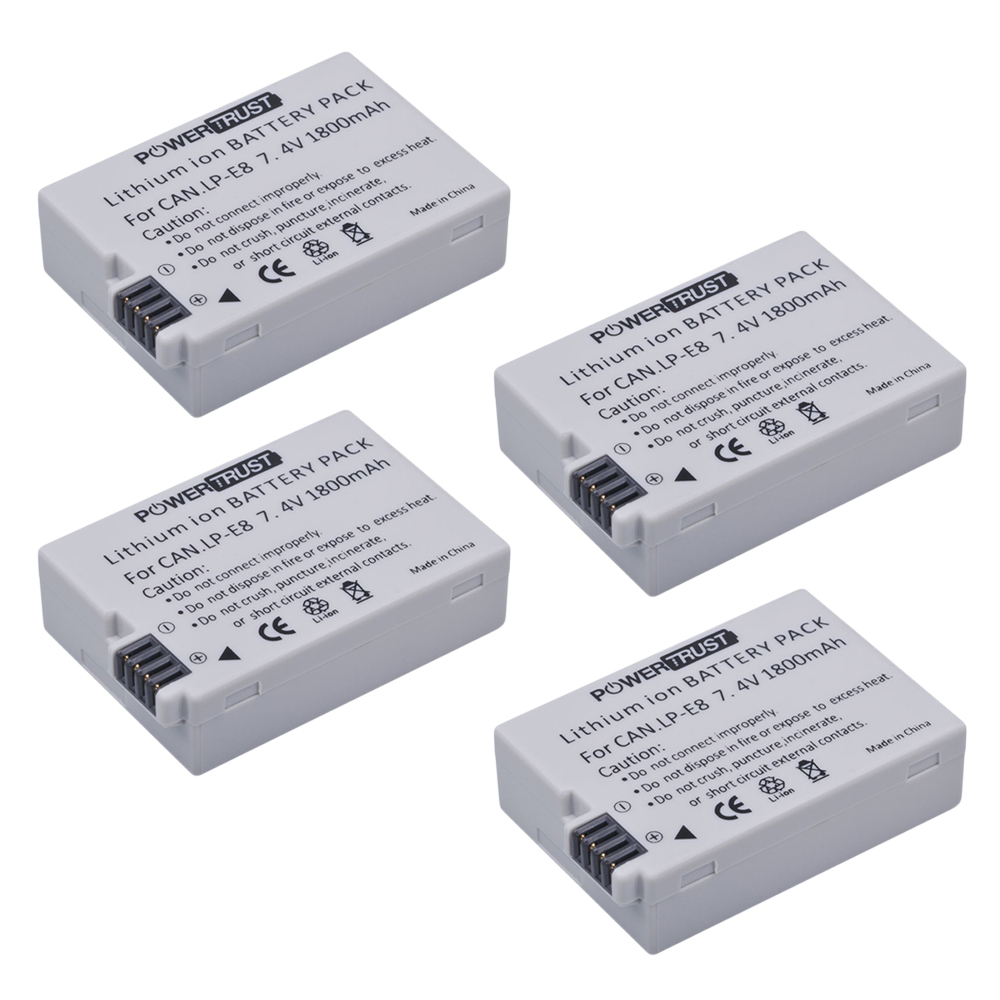 4Pcs 1800mah LP-E8 LPE8 LP E8 Camera <font><b>Battery</b></font> for <font><b>Canon</b></font> EOS 550D 600D <font><b>650D</b></font> 700D kiss X4 X5 X6i X7i Rebel T2i T3i T4i T5i image