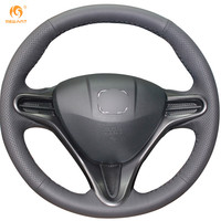 Black Leather Steering Wheel Cover For Honda Civic Old Civic 2004 2011