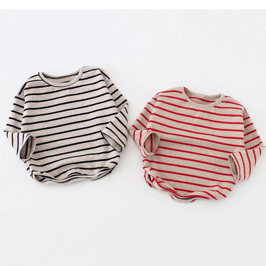 9M-3T Spring Autumn Baby Girls Boys Shirt Long Sleeve Stripe Tops Soft Cotton Toddler Kids T-Shirt Warm Fashion Clothes