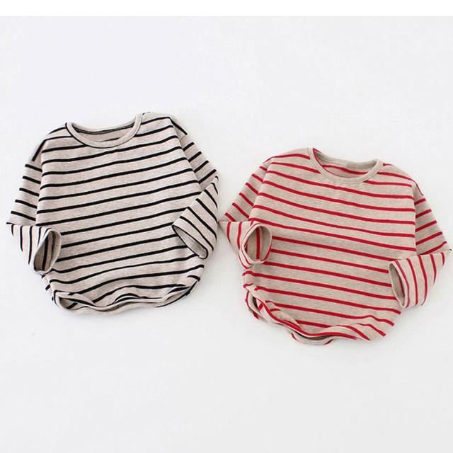 9M-3T Spring autumn Baby Girls Boys Shirt Long Sleeve Stripe Tops Soft cotton Toddler Kids T-Shirt Warm fashion Clothes