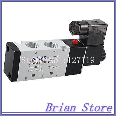 5/8x 1/2 AC 220V 5 Port Pneumatic Control Air Solenoid Valve 5 2 1