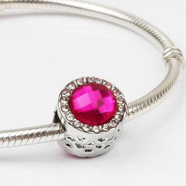Pequeña Declaración Europea Flor de cristal cereza langosta Minnie esmalte colgante cuentas ajuste Pandora encanto pulseras mujeres DIY joyería