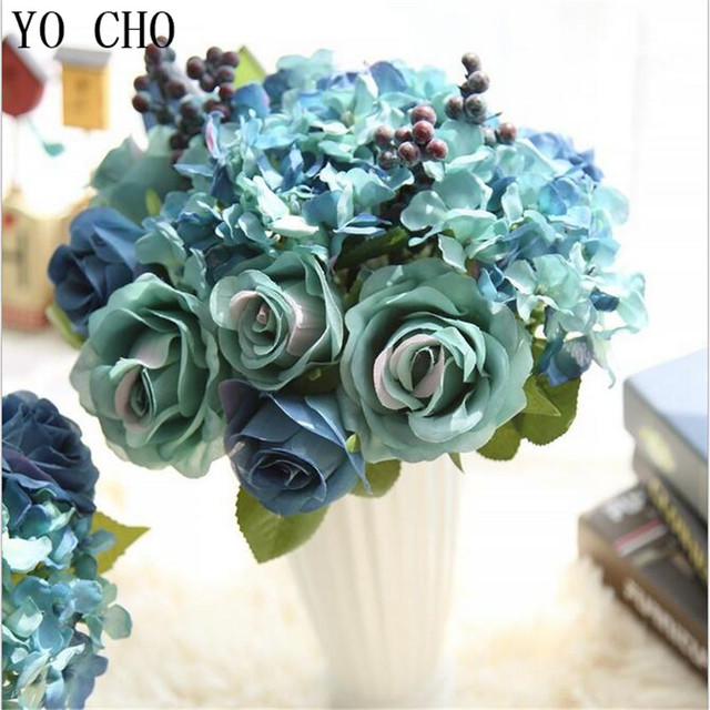 Yo cho tiffany blue roses bouquet wedding decoration hydrangea silk yo cho tiffany blue roses bouquet wedding decoration hydrangea silk flower peony artificial flowers home decoration mightylinksfo