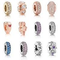 12 Phong Cách 925 Bạc Charm Rose Gold/Vàng/Bạc Flower Love Heart Fit Pandora Charm Bracelet và Vòng Đeo Tay phụ nữ Jewelry Diy