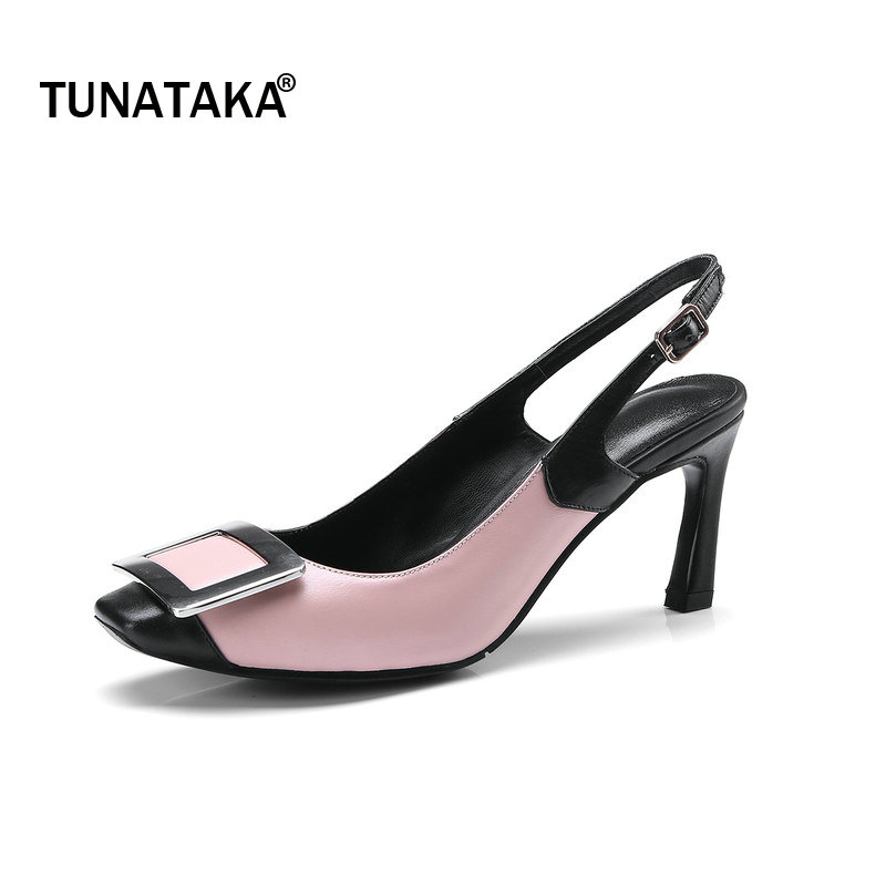 Genuine Leather Slingbacks Buckle Woman Pumps Hoof High Heel Square Toe Dress High Heel Shoes Woman Beige Pink newest solid flock high heel pumps woman
