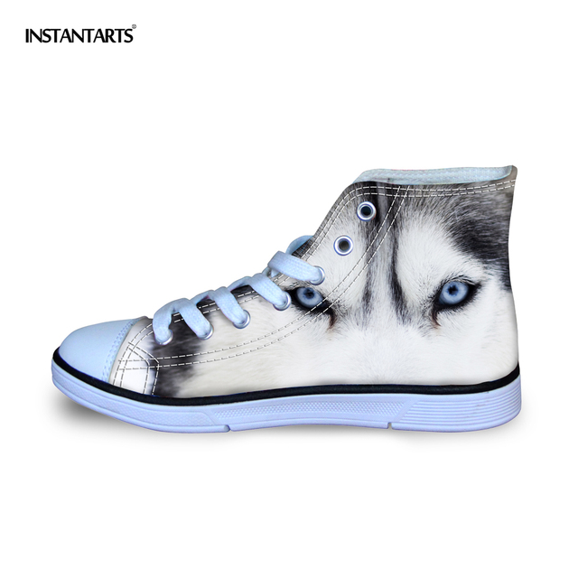 INSTANTARTS 3D Animal Wolf Printed Kids Sneakers Children Outdoor Sports Shoes Boys Girls Students Classic High-top Canvas Shoes