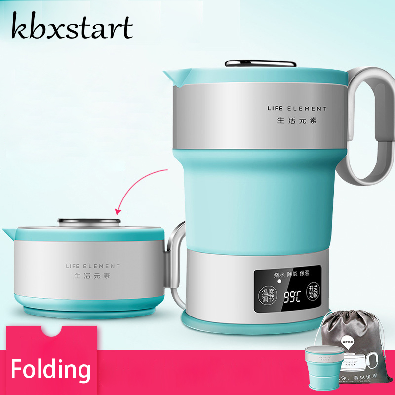 Kbxstart Electric Mini Travel Kettle Silicone Foldable Automatic Power off Camping Portable Water Boiler With Cup