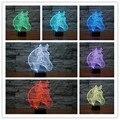 O Envio gratuito de 7 Cores Em Mudança Animal Cavalo Nocturna Cintilante Led 3D LED Desk Lamp Table Lamp USB Lâmpadas de Cabeceira Decoração Cavalo Casa