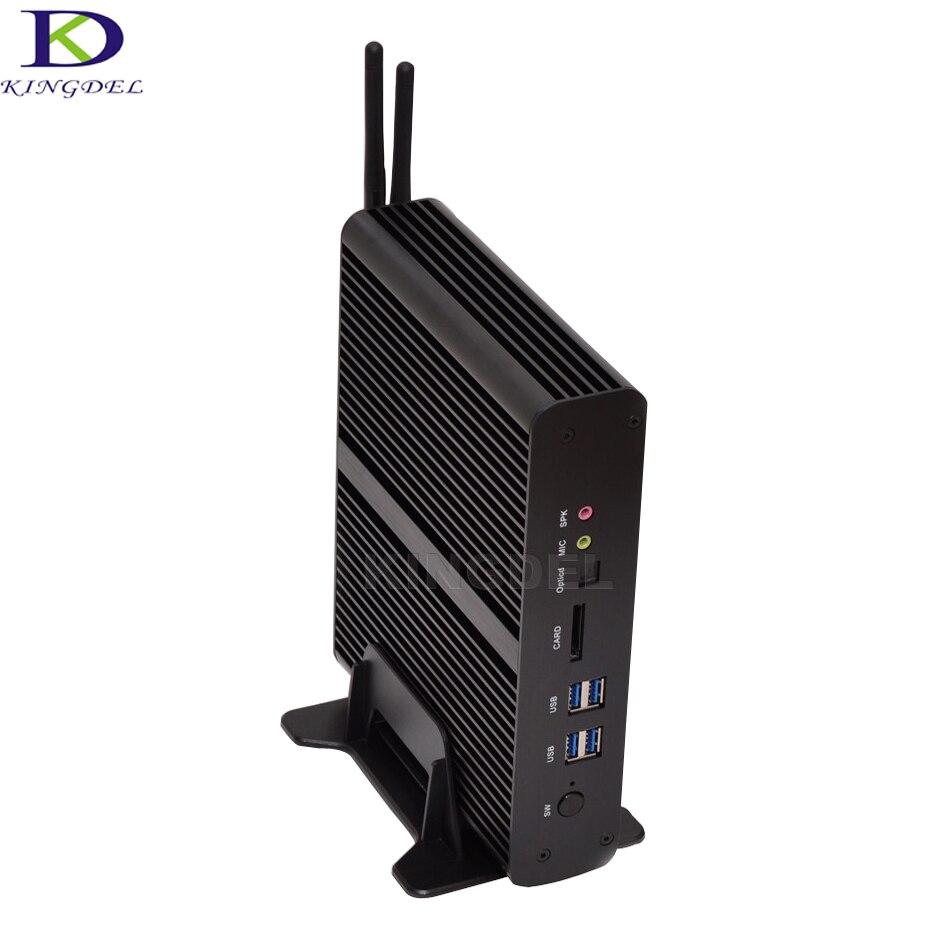 Big Promotion HTPC Intel Core i7 5500U 5550U 4500U Dual LAN Fanless Mini PC  Micro Computer 2*HDMI Mini Desktop PC TV BOX 3.0GHZ