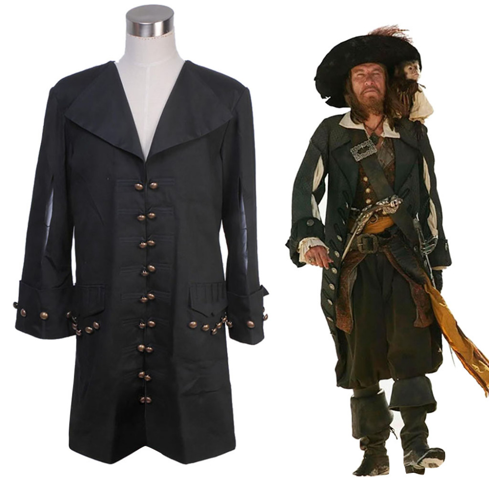 Pirates of the Caribbean Cosplay Barbossa Jacket Pirate Costume For Adult Men Halloween Party Costumes Custom Made kids halloween costumes cosplay caribbean pirates costumes captain jack children role playing children party clothes