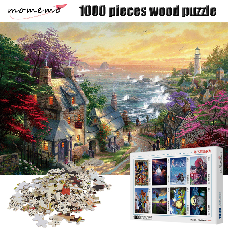 MOMEMO Seaside Town Scenery Puzzle 1000 Pieces Wooden Puzzle Adult Jigsaw Puzzle Entertainment Puzzle Game Toy for Children Gift