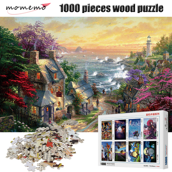 MOMEMO Seaside Town Scenery Puzzle 1000 Pieces Wooden Puzzle Adult Jigsaw Puzzle Entertainment Puzzle Game Toy for Children Gift фото