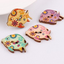 Wholesale 24*30mm 50pcs Mixed Color Fish  Wooden Buttons For Handmade Craft Fit Sewing And Scrapbooking Accessories 2 Holes multicolor 50pcs 2 holes mixed animal wooden decorative buttons fit sewing scrapbooking crafts