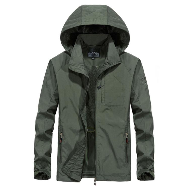 DIMUSI Autumn Men's Thin Jacket Male Casual Overcoat Army Tactics Windbreaker Jacket Mens Waterproof Breathable Hooded 6XL,TA205