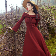 Horn Sleeve Knitted Dress High Waist Off Shoulder Vintage Long Vestido Mujer Autumn Midi Red Women  70j030