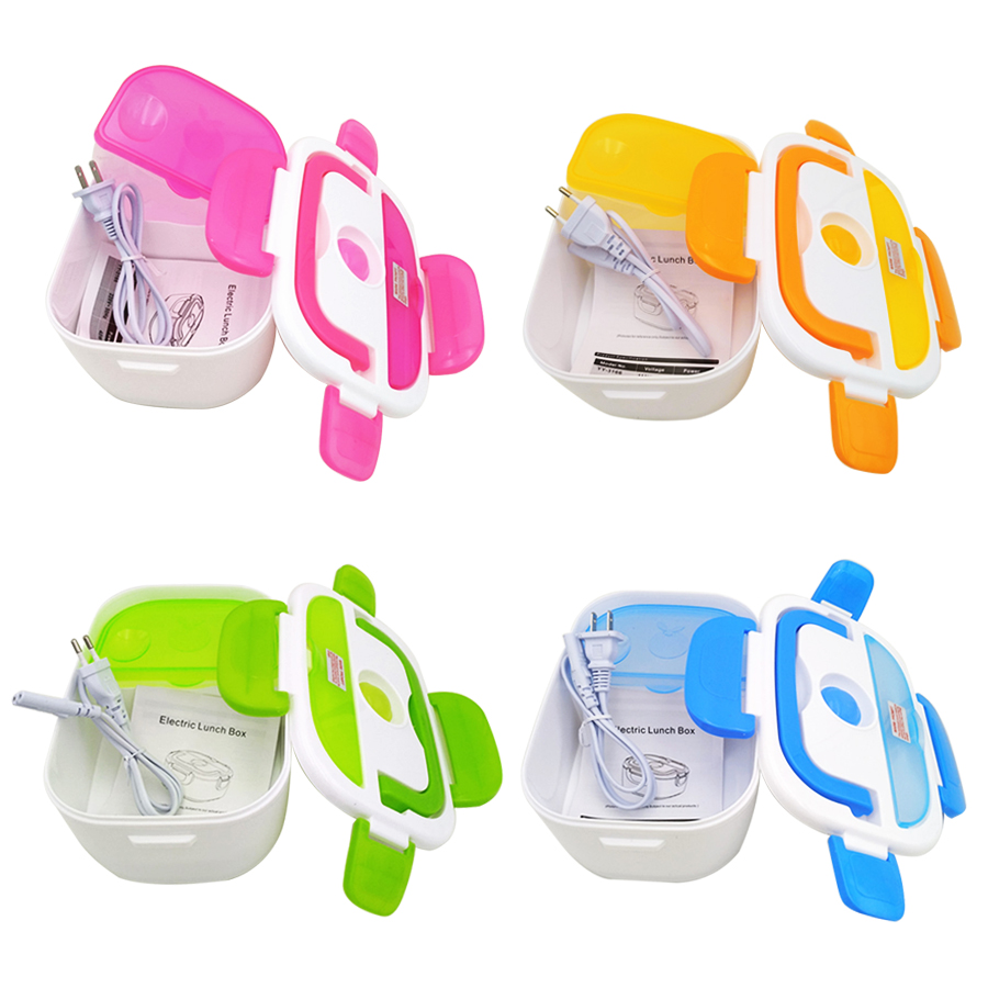 Portable Electric Heating Lunch Box Food-Grade Food Container Food Warmer For Kids 4 Buckles Dinnerware Sets
