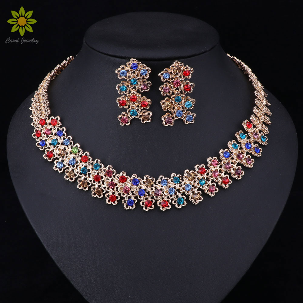 African Costume Jewelry Sets Gold Color Necklace Earrings Crystal Party Accessories