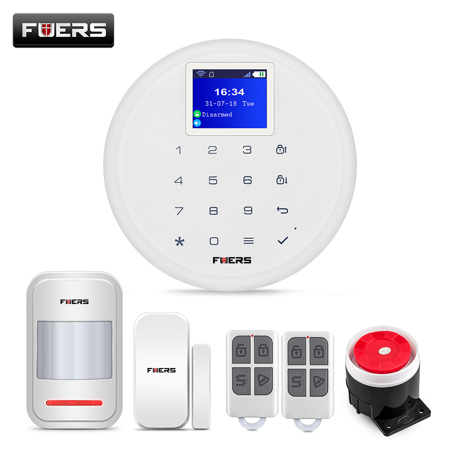 FUERS W17 433 Wireless SIM GSM Home Burglar Security WIFI GSM Alarm System Sensor English Russian Spanish German Italian Voice wireless sim gsm home rfid burglar security lcd touch keyboard wifi gsm alarm system sensor kit english russian spanish french