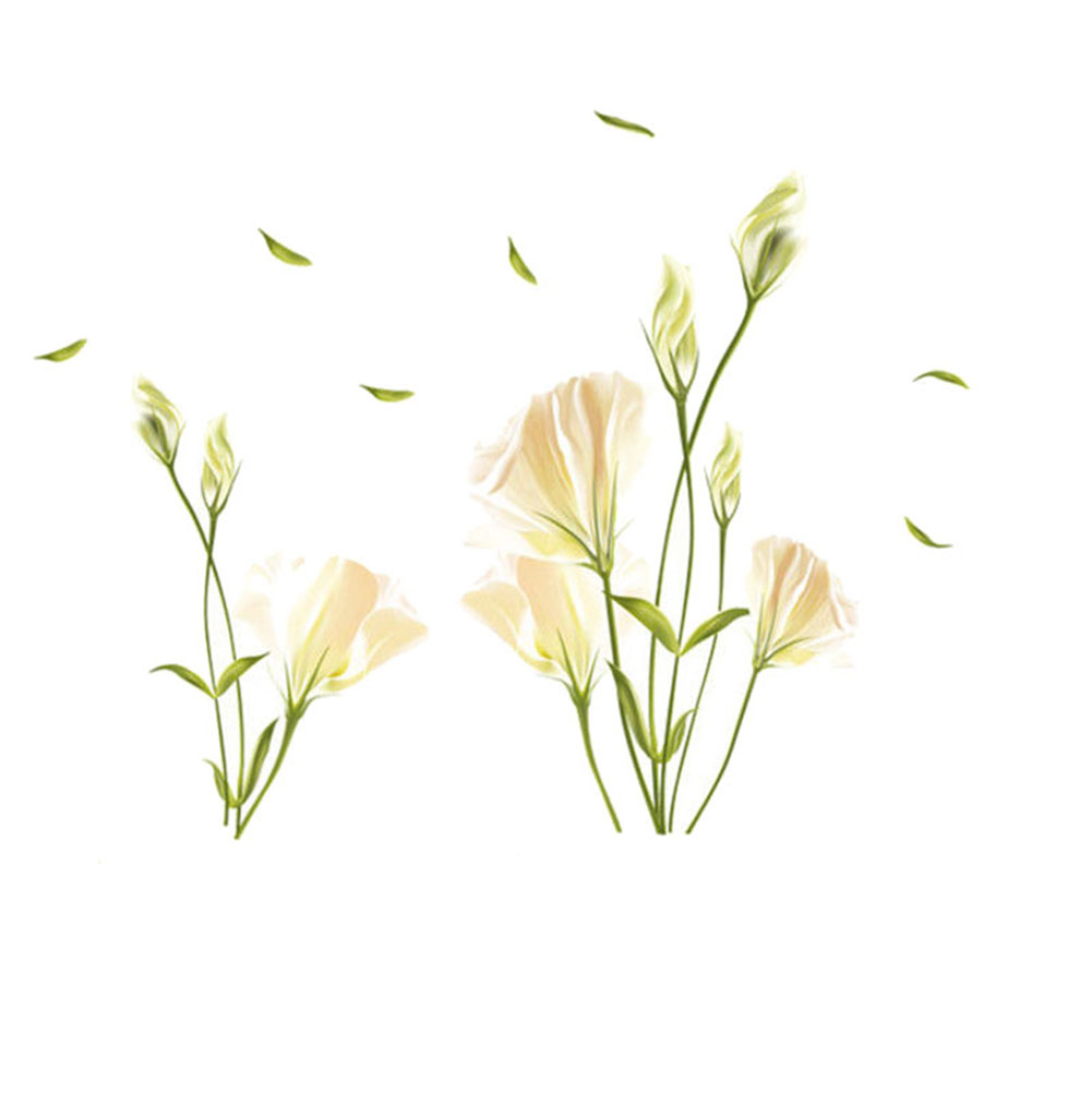 Wall Sticker Elegant Lily Flowers On The Wall Stickers Home Decor Bedroom Backdrop Wall Decals Hot LXY9