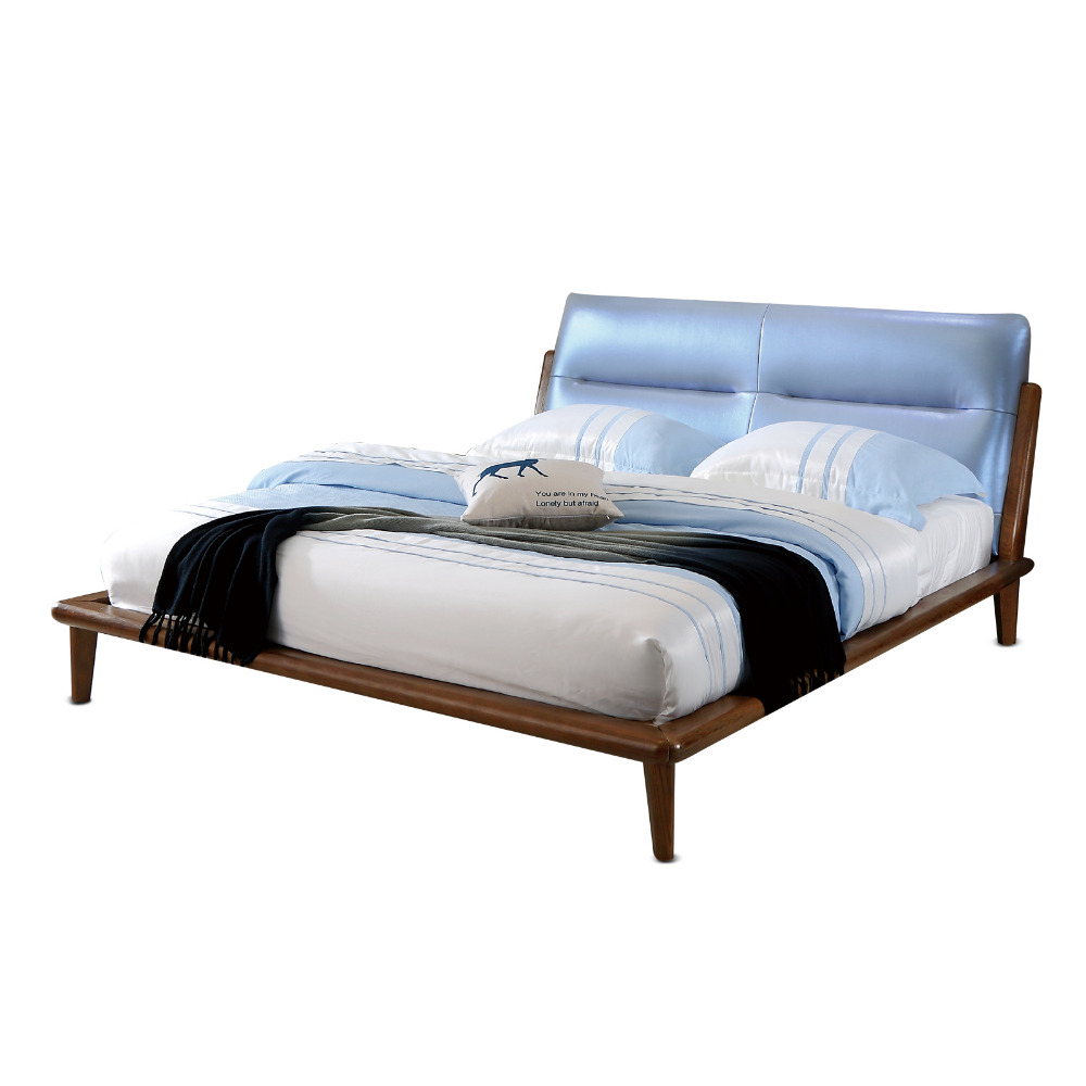 1212H303F Modern Simple Original Nordic style Asho solid wood with stable ranked skeleton soft bed-rest large bed frame